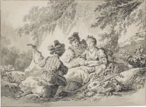 Jean Baptiste Le Prince - Two men and a lady making music in a bucolic setting
