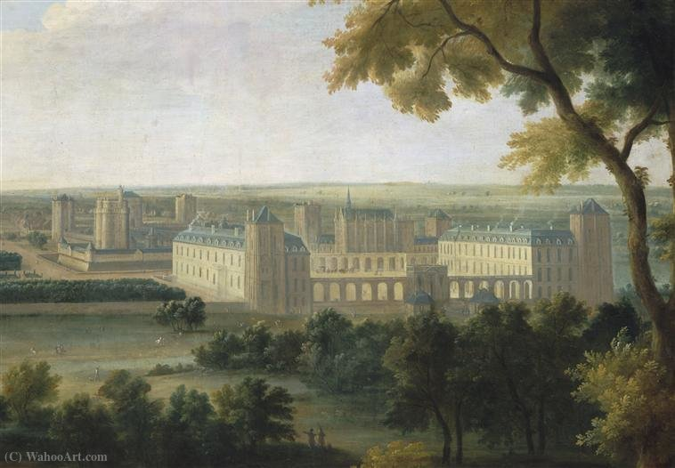 The Château de Vincennes on a painting titled with Le Prince de Conti à la chasse en vue du Château de Vincennes by Jean Baptiste Martin (1714-1789, France)