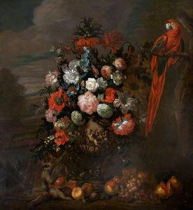 Jean Baptiste Monnoyer - A Figured Vase of Flowers with a Monkey Teasing a Parrot