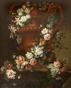 Jean Baptiste Monnoyer - An Urn with a Garland of Flowers