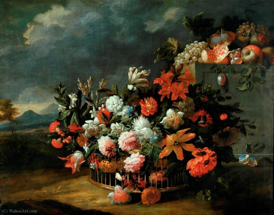 Basket of Flowers by Jean Baptiste Monnoyer (1636-1699, France) | Museum Quality Reproductions | WahooArt.com