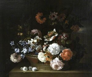 Jean Baptiste Monnoyer - Flowers in a Basket on a Ledge