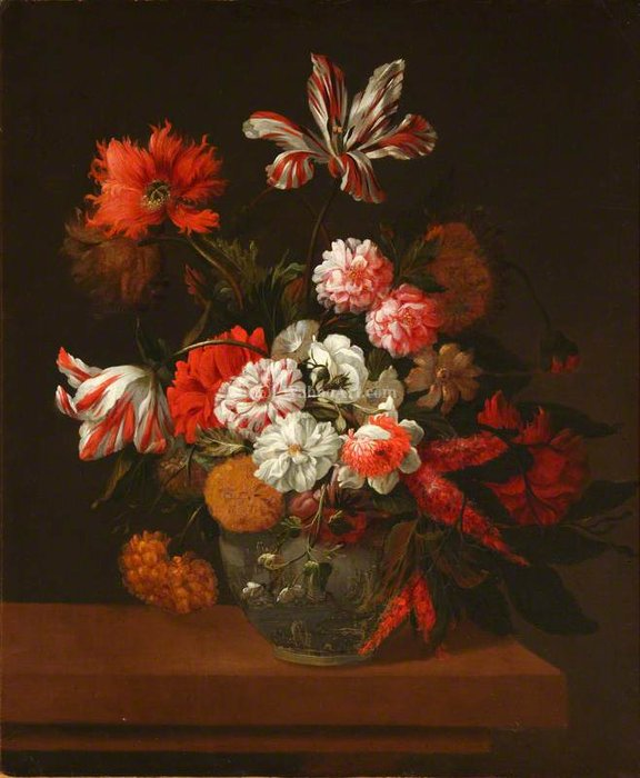 Flowers in a China Vase by Jean Baptiste Monnoyer (1636-1699, France) | Painting Copy | WahooArt.com