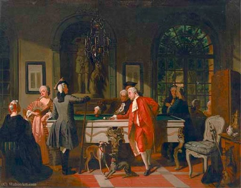 Order Paintings Reproductions | A Game of Billiards under Louis XV, (1855) by Jean Carolus (1814-1897, Belgium) | WahooArt.com