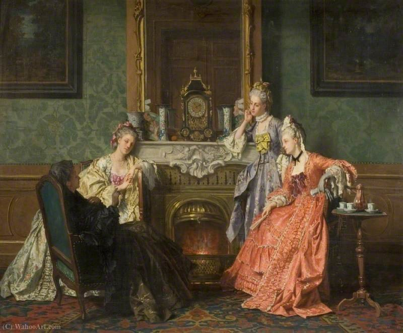 Afternoon tea by Jean Carolus (1814-1897, Belgium) | Art Reproductions Jean Carolus | WahooArt.com
