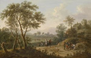 Johann Christian Brand - Wooded Landscape with Travellers