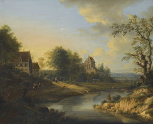 Johann Christian Vollerdt Or Vollaert - A river landscape with figures on the bank and sheep grazing; a river landscape with fishermen dredging a weir