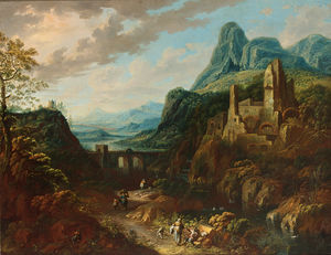 Johann Christian Vollerdt Or Vollaert - An italianate river landscape with travellers and a bridge beyond