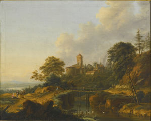 Johann Christian Vollerdt Or Vollaert - River landscape with travellers crossing a bridge, a town beyond