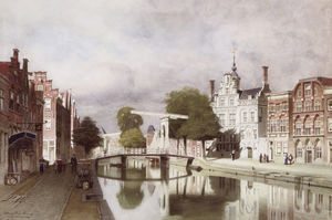 Johannes Christiaan Karel Klinkenberg - A view on the Oude Delft in Delft