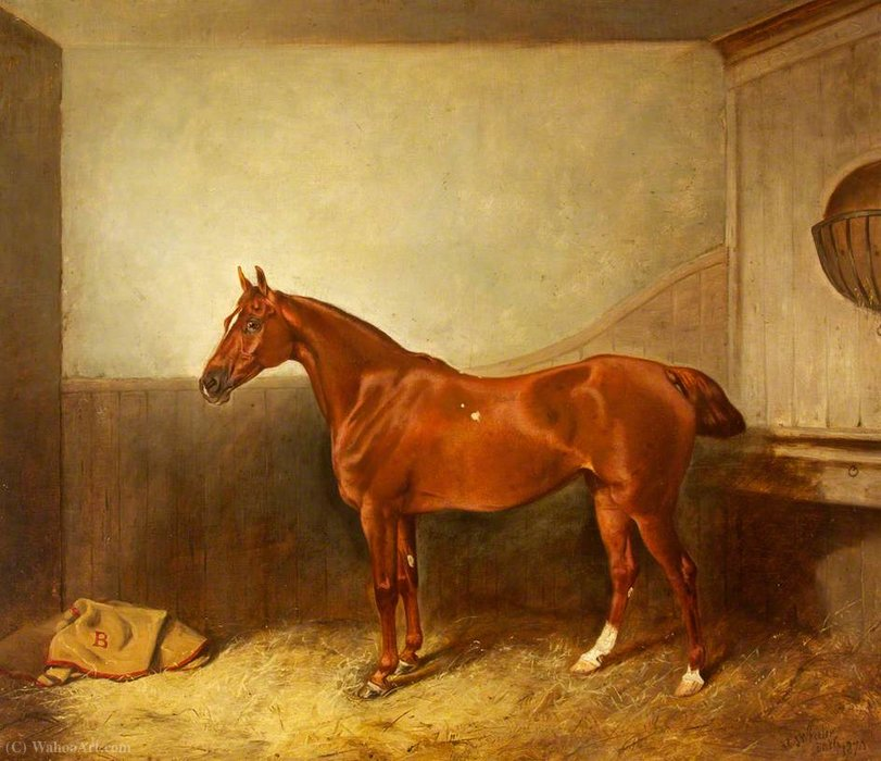 A Chestnut Hunter with a White Blaze in His Stable by John Alfred Wheeler (1821-1903, United Kingdom)