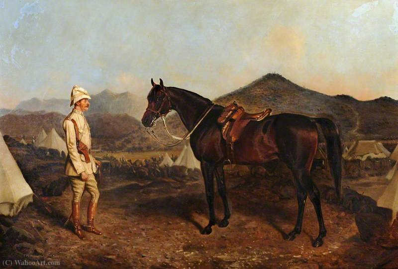 An Officer with His Charger by John Alfred Wheeler (1821-1903, United Kingdom)