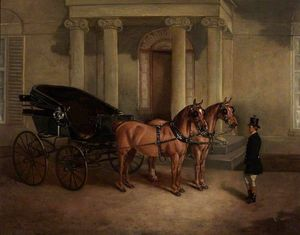 John Alfred Wheeler - Rode Manor, Carriage and Pair at the Porch
