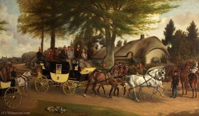 The Bath to Devizes Coach by John Alfred Wheeler (1821-1903, United Kingdom) | Art Reproduction | WahooArt.com