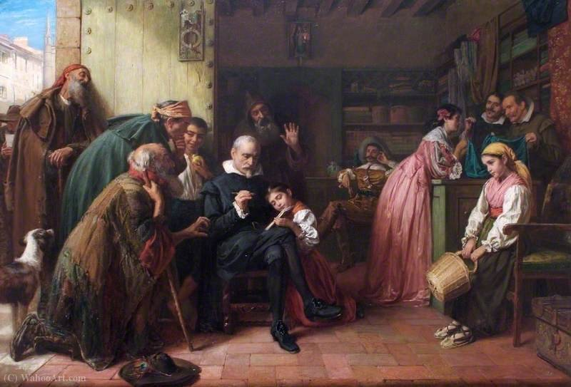 An artist's almsgiving by John Bagnold Burgess (1829-1897, United Kingdom)