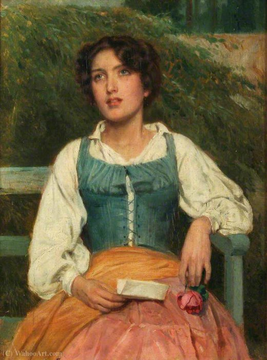 Portrait of a Young Woman with a Love Letter by John Bagnold Burgess (1829-1897, United Kingdom) | Museum Quality Reproductions | WahooArt.com