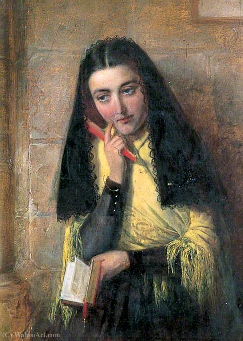 Spanish girl by John Bagnold Burgess (1829-1897, United Kingdom) | Famous Paintings Reproductions | WahooArt.com