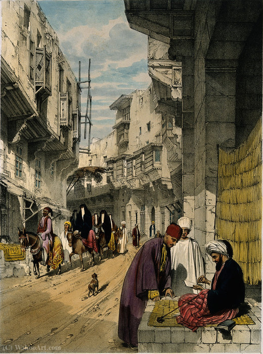 A street scene in Cairo with a street seller at work by John Cooke Bourne (1814-1896, United Kingdom)
