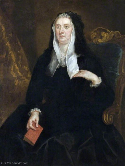 An Unknown Widow Holding a Book Inscribed 'Dame Bridget Phelips, (1670') by John Vanderbank (1694-1739, United Kingdom)