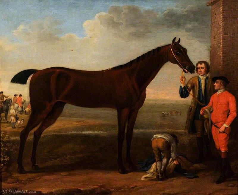 A Bay Racehorse and Attendants by John Wootton (1682-1764, United Kingdom) | Painting Copy | WahooArt.com