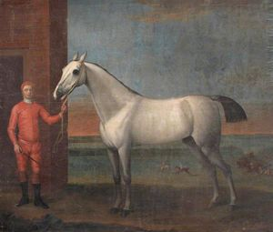 John Wootton - A Grey Horse and Jockey in Red Colours, before a Stable