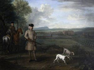 John Wootton - Bowater Vernon (1683–1735), with Hanbury Hall and Its Formal Garden