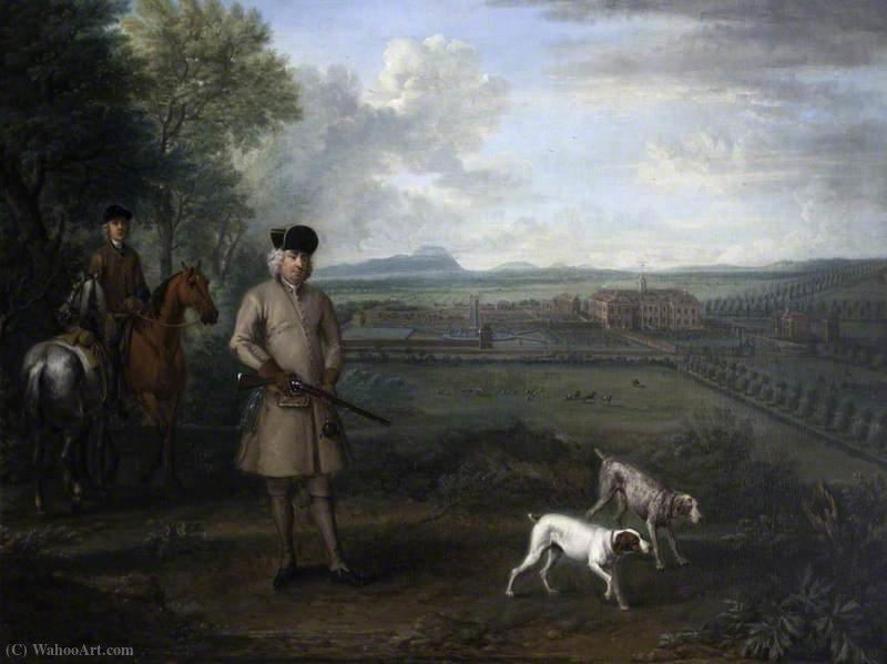 Bowater Vernon (1683–1735), with Hanbury Hall and Its Formal Garden by John Wootton (1682-1764, United Kingdom) | Painting Copy | WahooArt.com