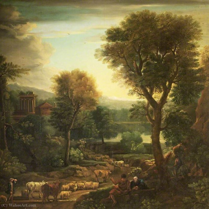 Classical Landscape with a Grecian Temple by John Wootton (1682-1764, United Kingdom) | Oil Painting | WahooArt.com