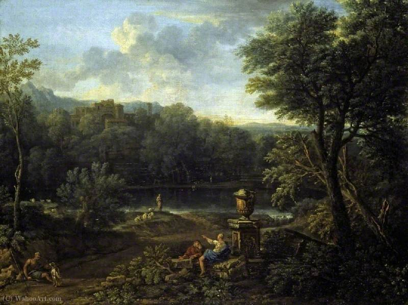 Classical landscape by John Wootton (1682-1764, United Kingdom) | Famous Paintings Reproductions | WahooArt.com