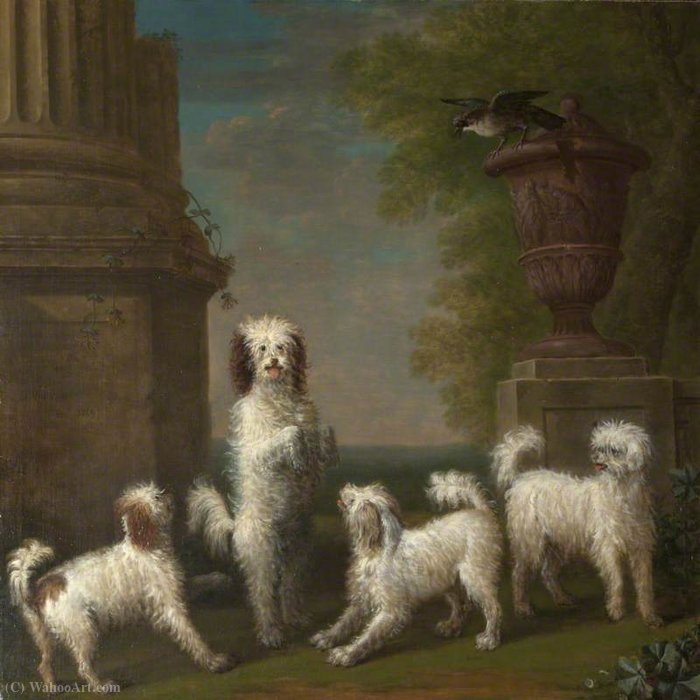 Dancing Dogs `Lusette`, `Madore`, `Rosette` and `Moucheby` by John Wootton (1682-1764, United Kingdom) | Famous Paintings Reproductions | WahooArt.com
