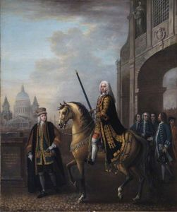 John Wootton - Equestrian Portrait of Sir Richard Hoare II (1709–1754), as Lord Mayor of London, at Temple Bar