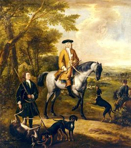 John Wootton - Gilbert Coventry (c.1688–1719), 4th Earl of Coventry, with Two Huntsmen in a Landscape