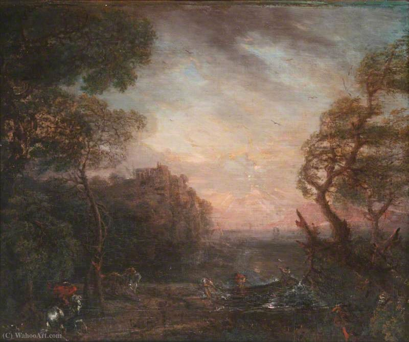Landscape of a River Valley at Sunset by John Wootton (1682-1764, United Kingdom) | Oil Painting | WahooArt.com