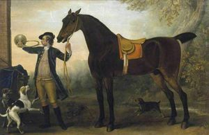 John Wootton - Life-Size Horse with Huntsman Blowing a Horn