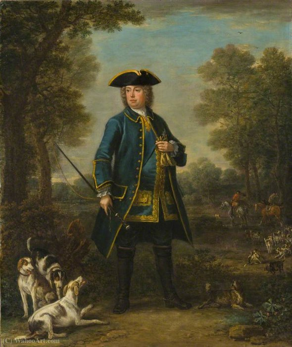 Sir Robert Walpole, 1st Earl of Orford, as a Ranger of Richmond Park by John Wootton (1682-1764, United Kingdom) | Painting Copy | WahooArt.com