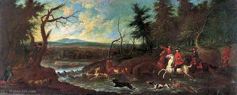Stag hunt by John Wootton (1682-1764, United Kingdom) | Oil Painting | WahooArt.com