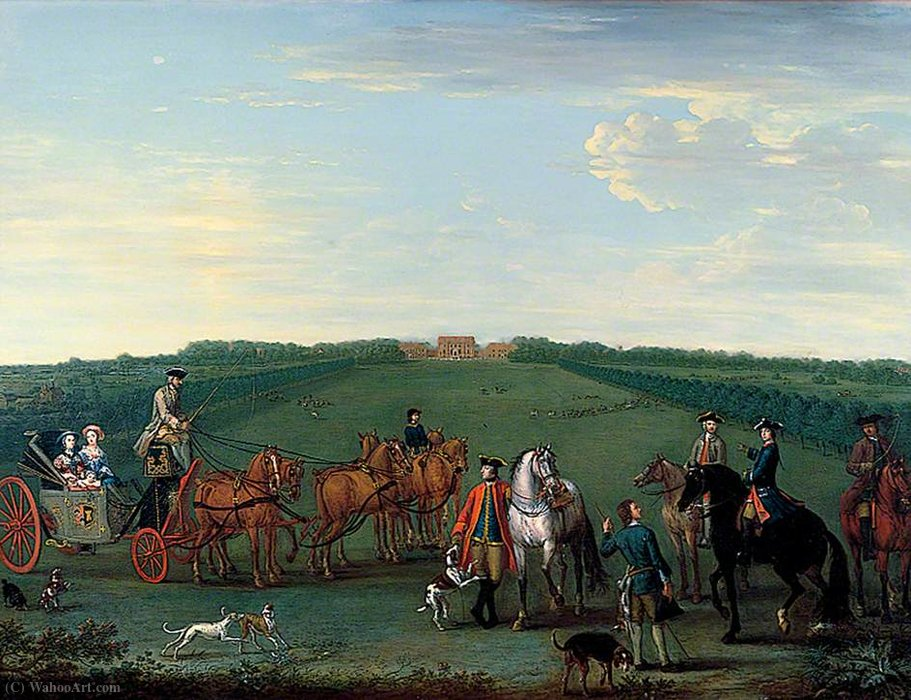The Beauchamp-Proctor Family and Friends at Langley Park, Norfolk by John Wootton (1682-1764, United Kingdom) | Museum Quality Reproductions | WahooArt.com
