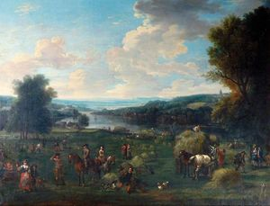 John Wootton - View of the Severn Valley with Haymaking and Figures