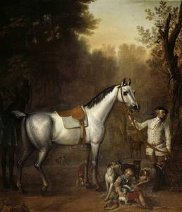 John Wootton - Viscount Weymouth's Hunt A Groom holding a Saddled Grey Hunter with Hounds and Terriers