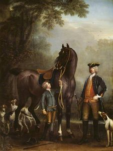 John Wootton - Viscount Weymouth's Hunt The Hon. John Spencer beside a Hunter held by a Young Boy