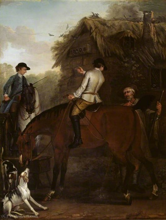 Viscount Weymouth`s Hunt Two Hunt Servants on Hunters beside a Cottage by John Wootton (1682-1764, United Kingdom) | Famous Paintings Reproductions | WahooArt.com