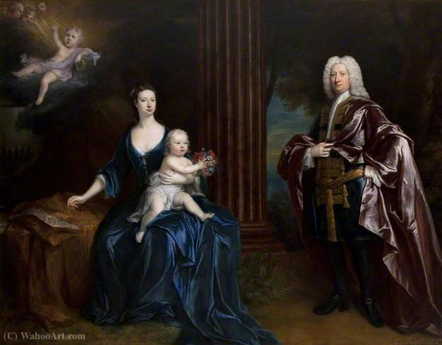 Sir Nathaniel Curzon , with His Wife, Mary Assheton, Lady Curzon, and Their Son Nathaniel by Jonathan Richardson (1667-1745, United Kingdom) | Art Reproduction | WahooArt.com