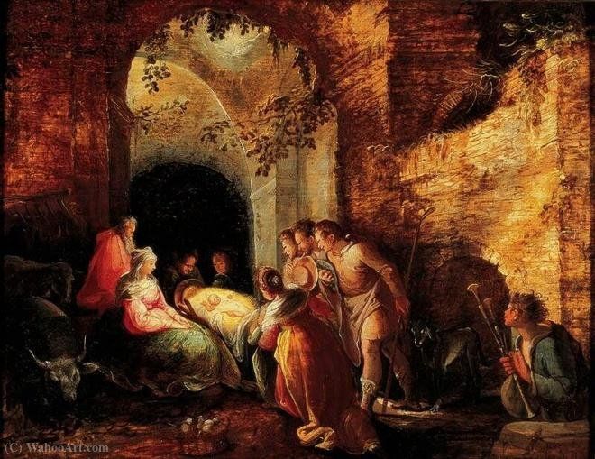 The Adoration of the Shepherds by Karel Van Mander (1548-1606, Belgium) | Painting Copy | WahooArt.com