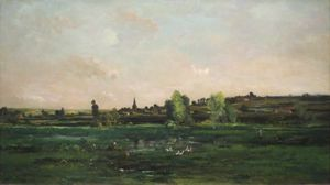Karl Pierre Daubigny - Village on the Seine near Vernon