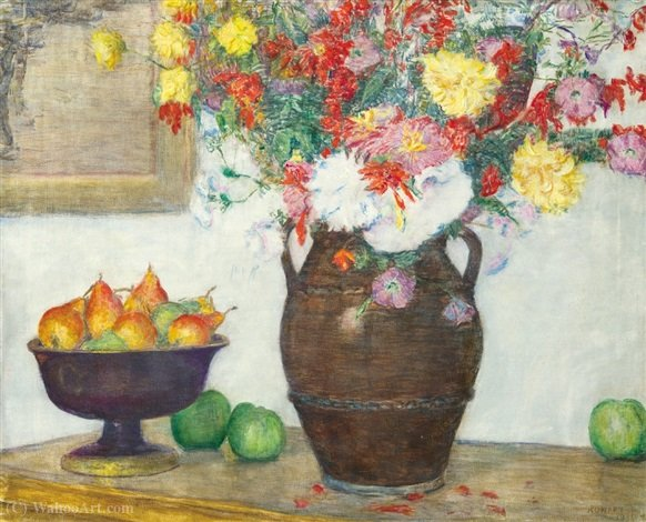 Still Life with Flowers and Pears by Kunffy Lajos (1838-1934, Hungary)