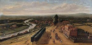 Order Museum Quality Reproductions : The Terrace and View from Richmond Hill, Surrey by Leonard Knyff (1650-1722, Netherlands) | WahooArt.com