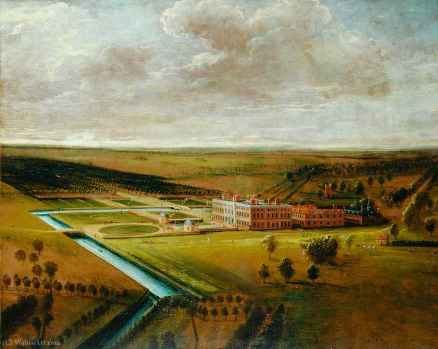 Thoresby hall, nottinghamshire by Leonard Knyff (1650-1722, Netherlands) | Art Reproduction | WahooArt.com