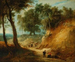 Lodewijk De Vadder - Wooded Landscape with Figures in a Ravine