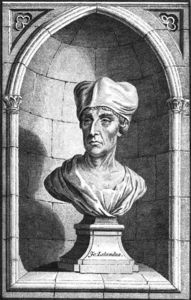 Louis François Roubiliac - Line engraving by C. Grignion, purportedly taken from a bust of 16th-century antiquary John Leland at All Souls College, Oxford. Engraving printed in William Huddesford, ed. (1772)