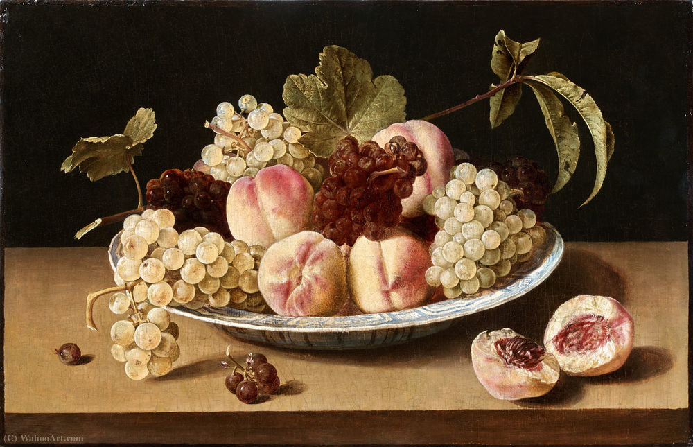Still Life with peaches and grapes in a chinese bowl by Louise Moillon (1610-1696, France) | Painting Copy | WahooArt.com